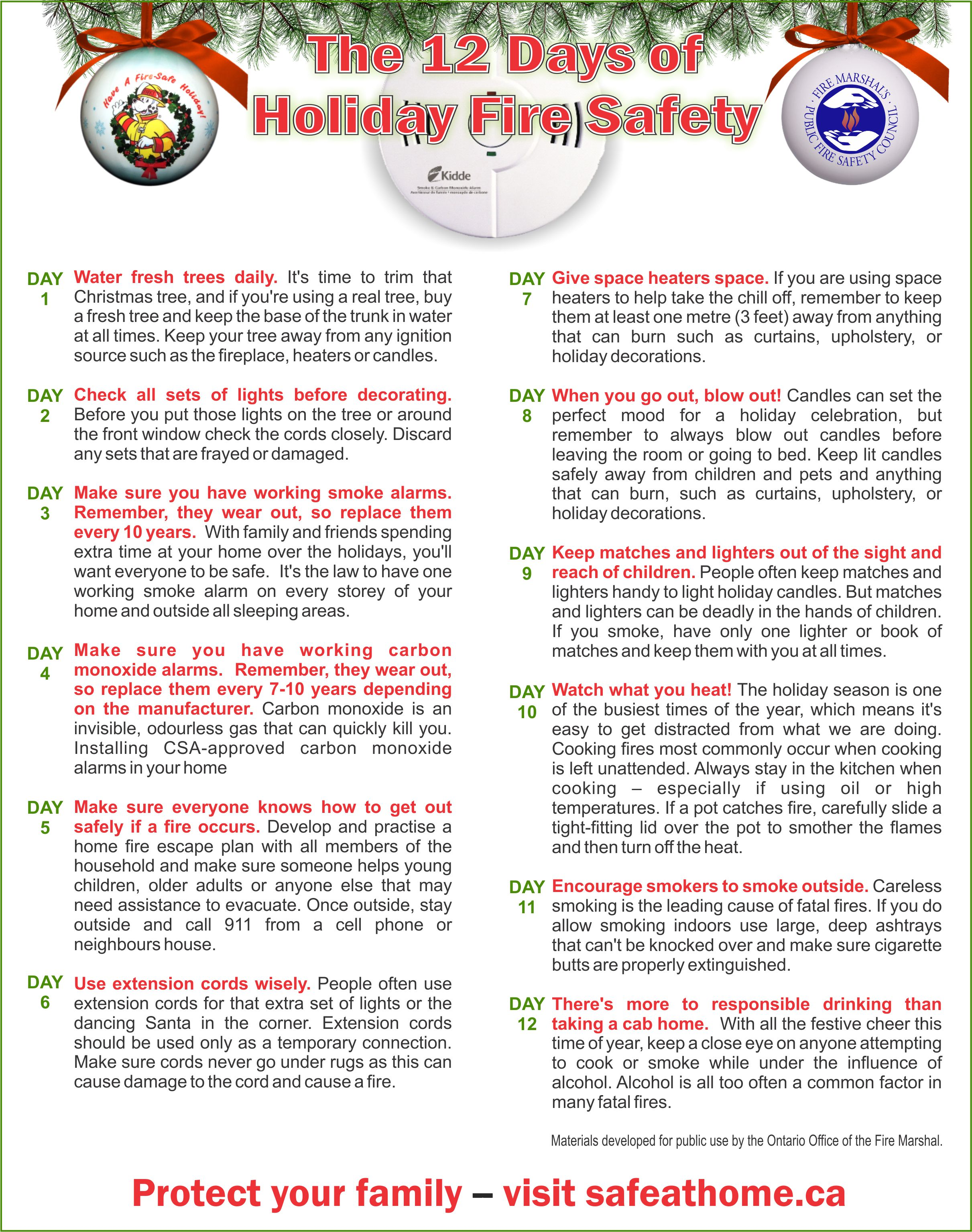 12 days of holiday fire safety tips