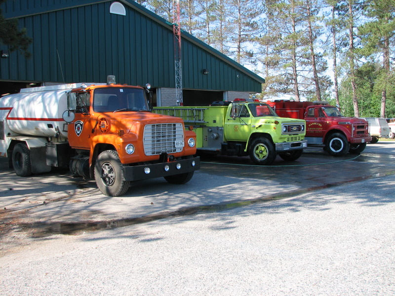 Preparing the trucks for the Searchmont Community Days parade